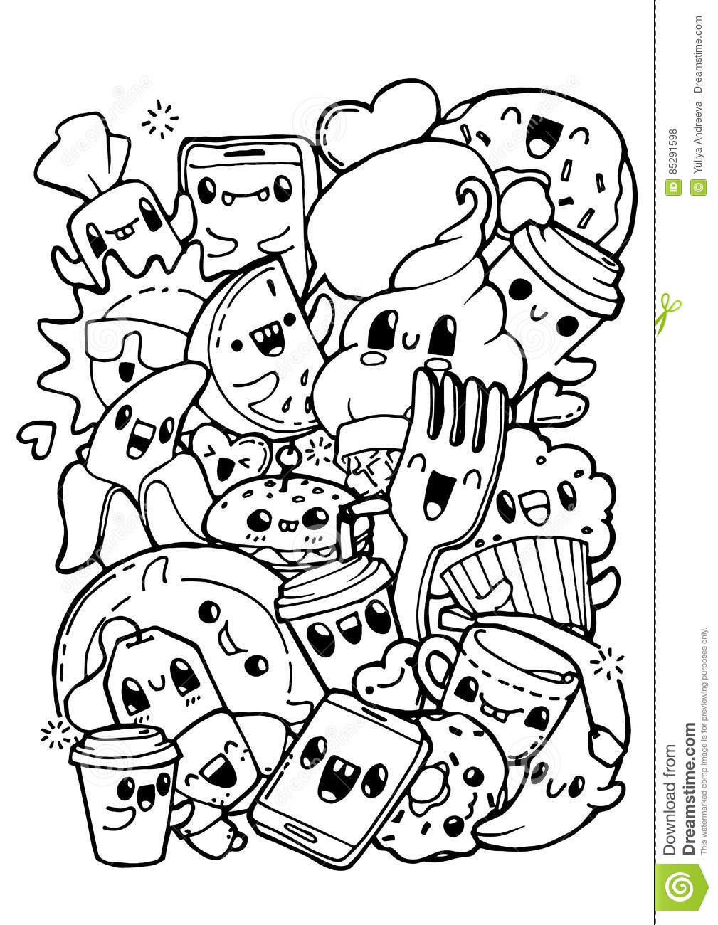 - Dining Doodles. Coloring Pages For Kids. Stock Vector