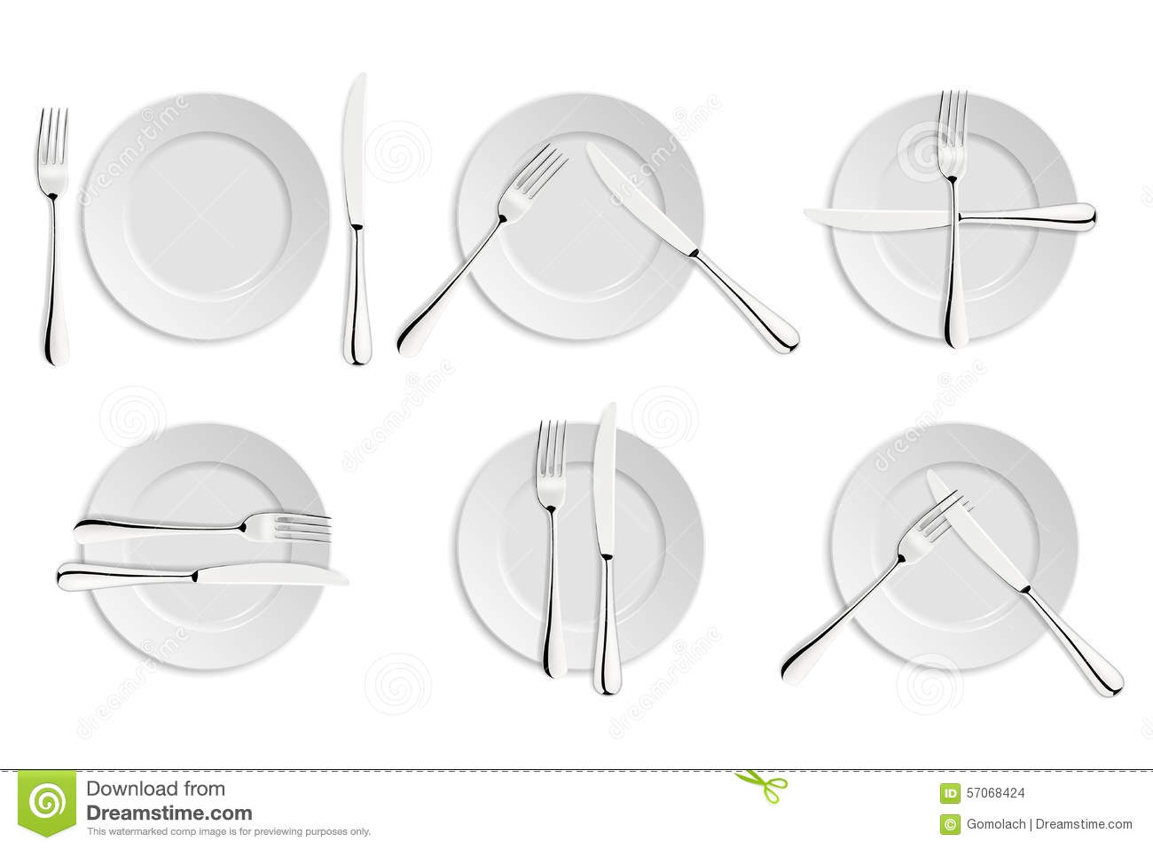 Dining Etiquette Forks And Knifes Signals Stock Vector