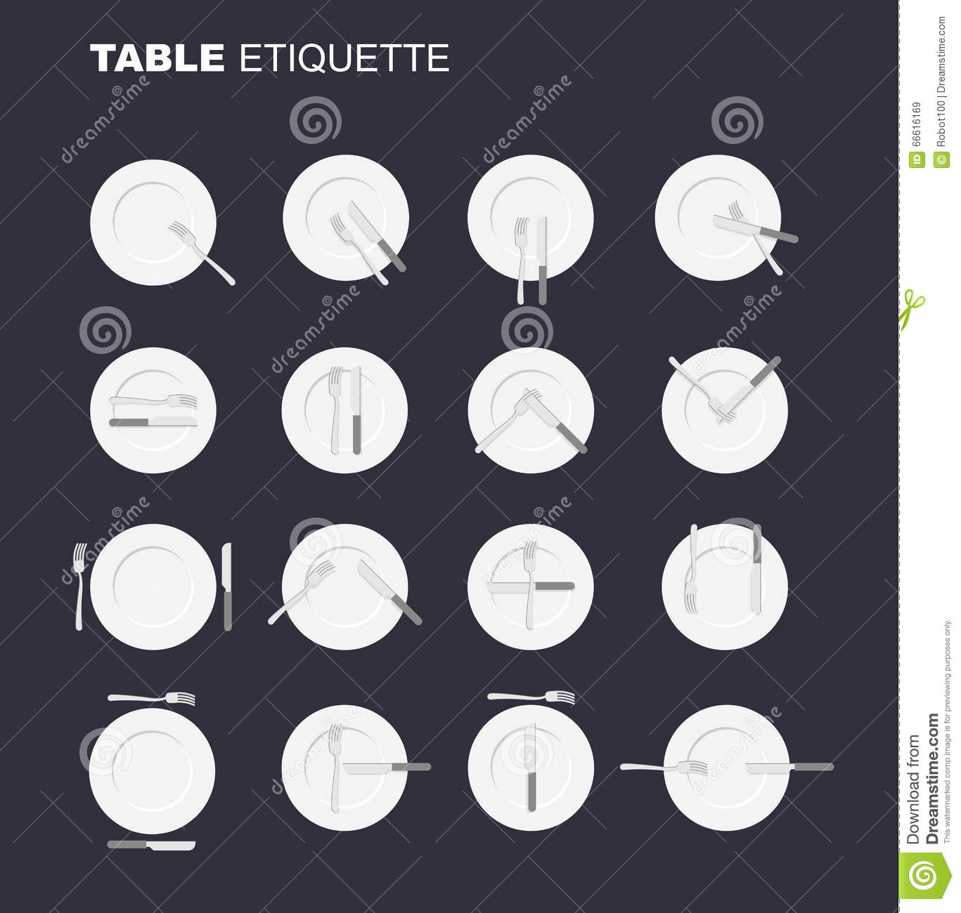 Dining Etiquette Unofficial Version 16 Characters To Restaurant Royalty Free Stock Images