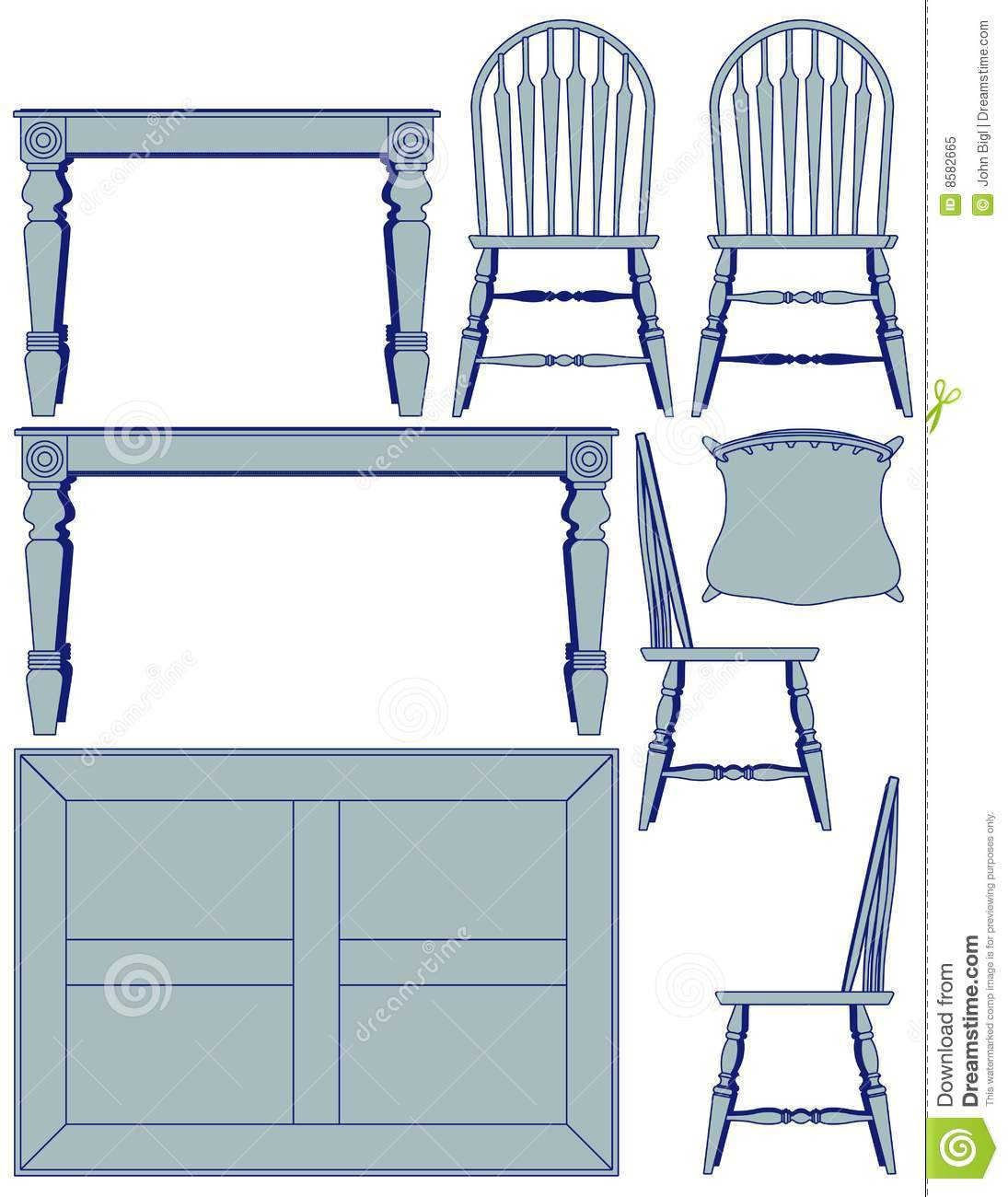 Dining Furniture Blueprint Royalty Free Stock