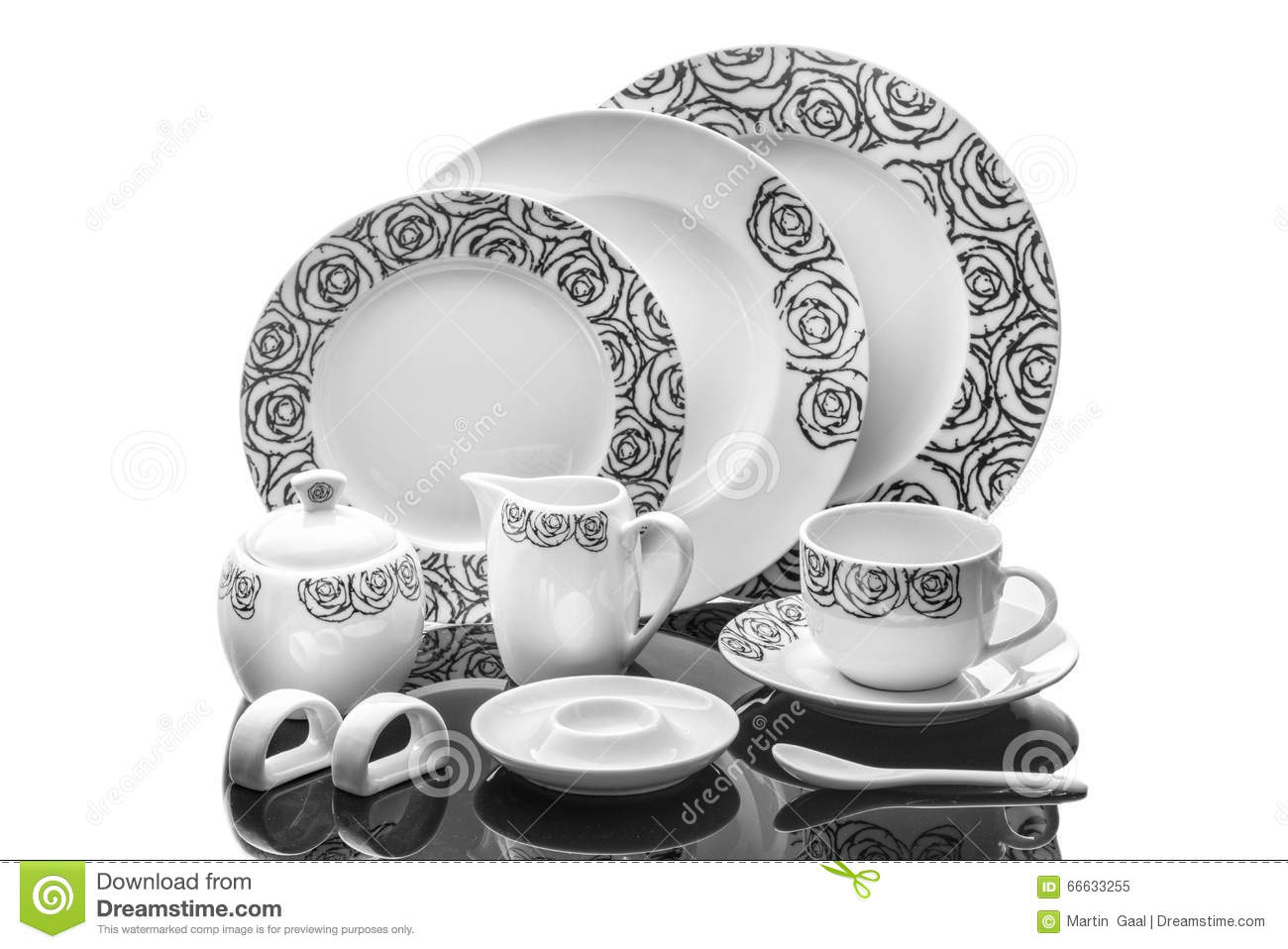 Dining Porcelain Set Of Plates, Cup And Napkin Ring With Ornament Isolated  On White Background, Product Photography, Serving Set Stock Image   Image  Of ...