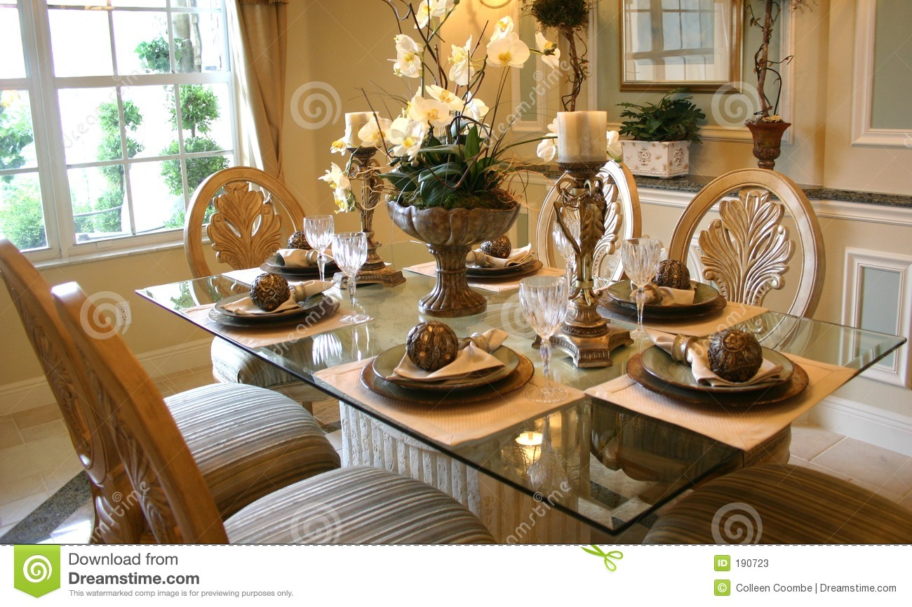 Dining room stock image of table centerpiece
