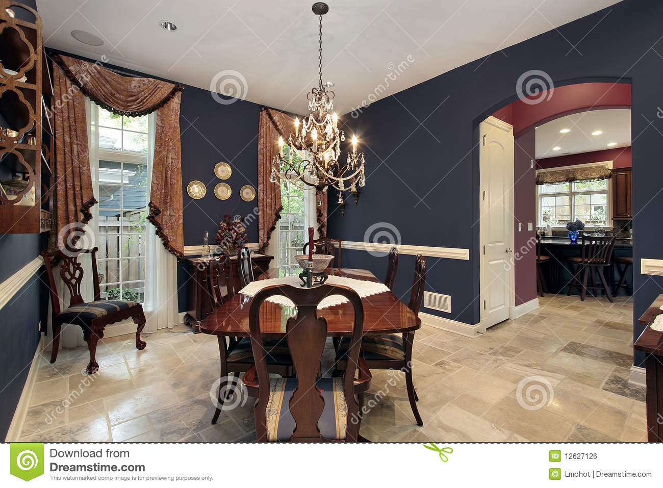 Dining Room With Arch Entry Stock Photo Image 12627126