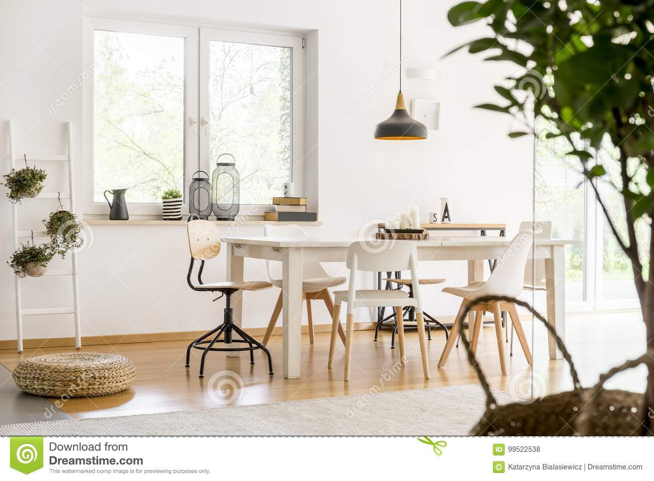 Dining Room With Braided Pouf Stock Photo Image Of Furniture Arrangement 99522538