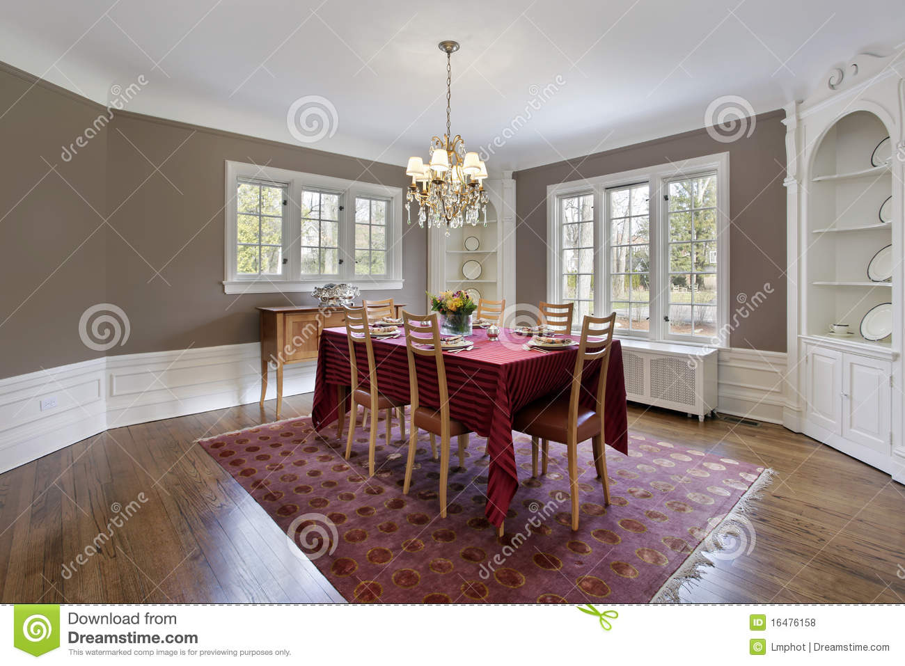 Dining Room With Built-in Cabinets Royalty Free Stock ...