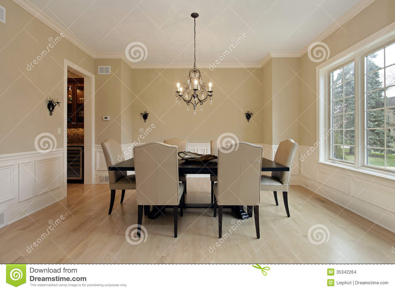 Dining Room With Candle Sconces Stock Images