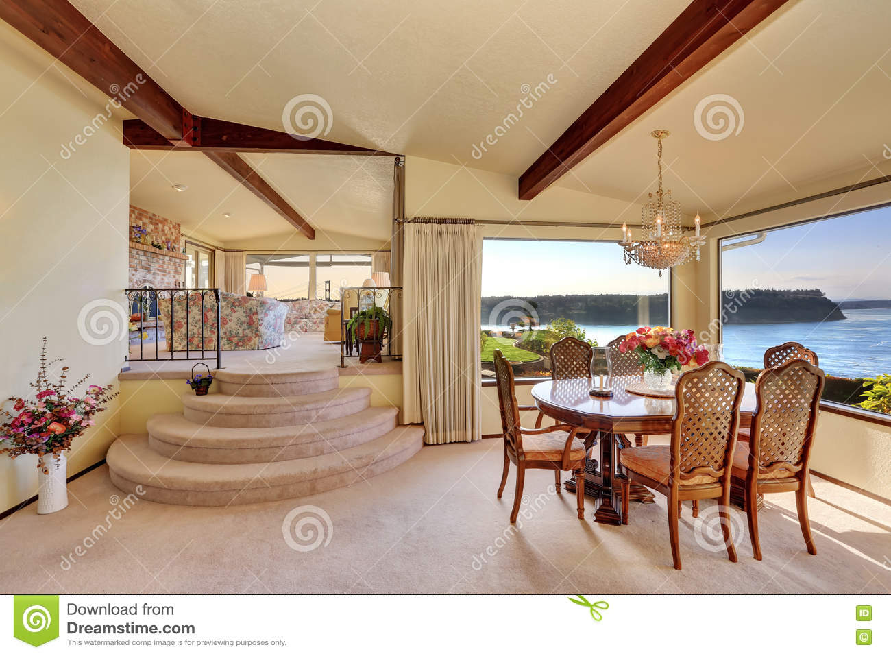 Picture of: Dining Room With Carved Wood Table Set And Water View Stock Photo Image Of Idea Furniture 76319756