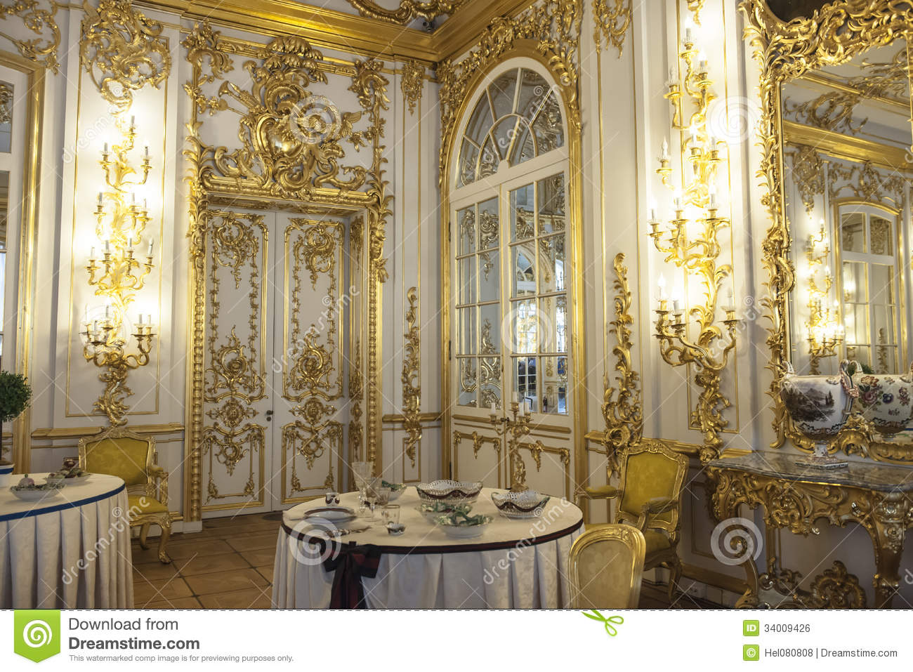 Dining Room Catherine Palace, St. Petersburg Royalty Free Stock Image - Image: 34009426