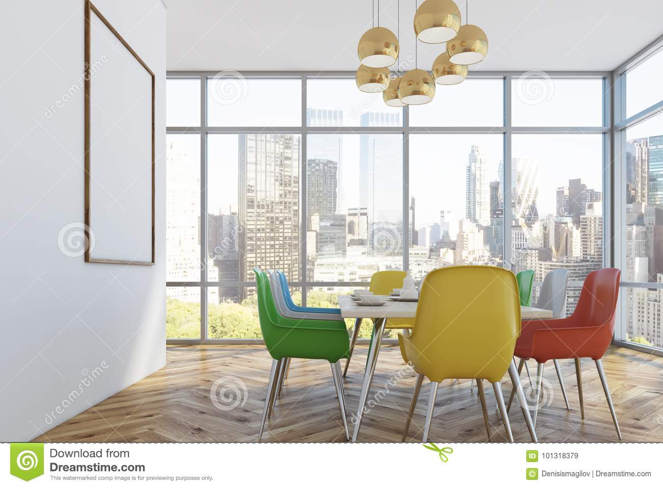 Dining Room With Colorful Chairs Side Stock Illustration