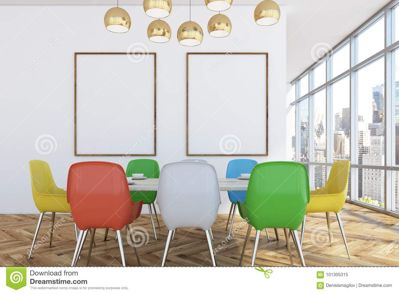 Dining Room With Colorful Chairs Two Posters Stock Illustration Illustration Of Mockup Modern 101305315