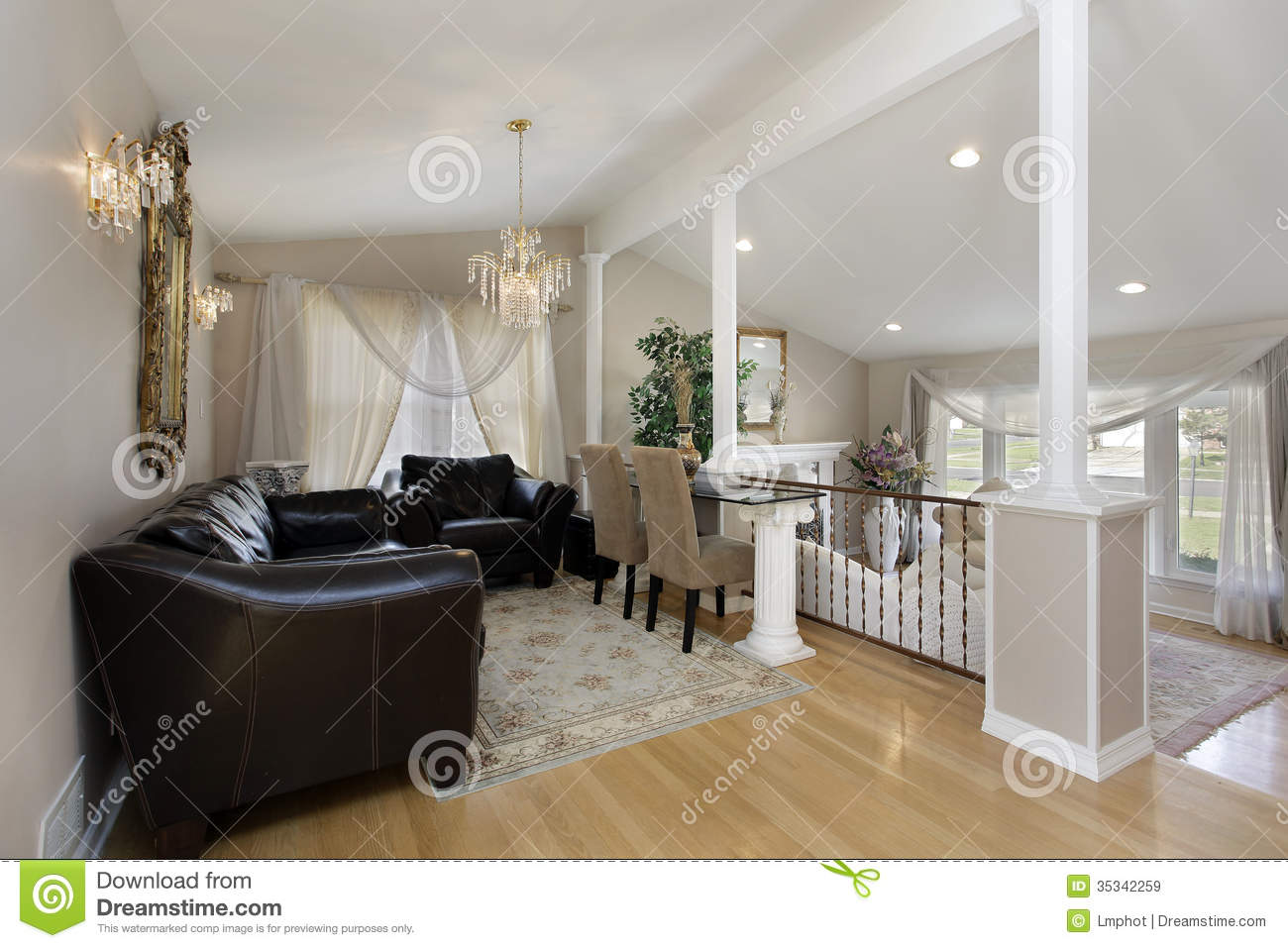 Dining room with columns stock image. Image of design - 35342259