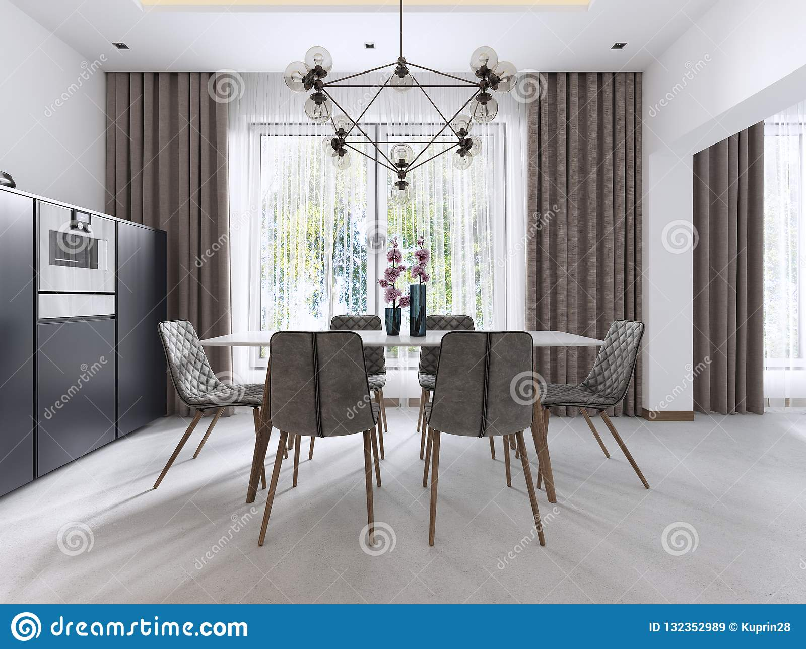Dining Room In Contemporary Style With Modern Chairs And A