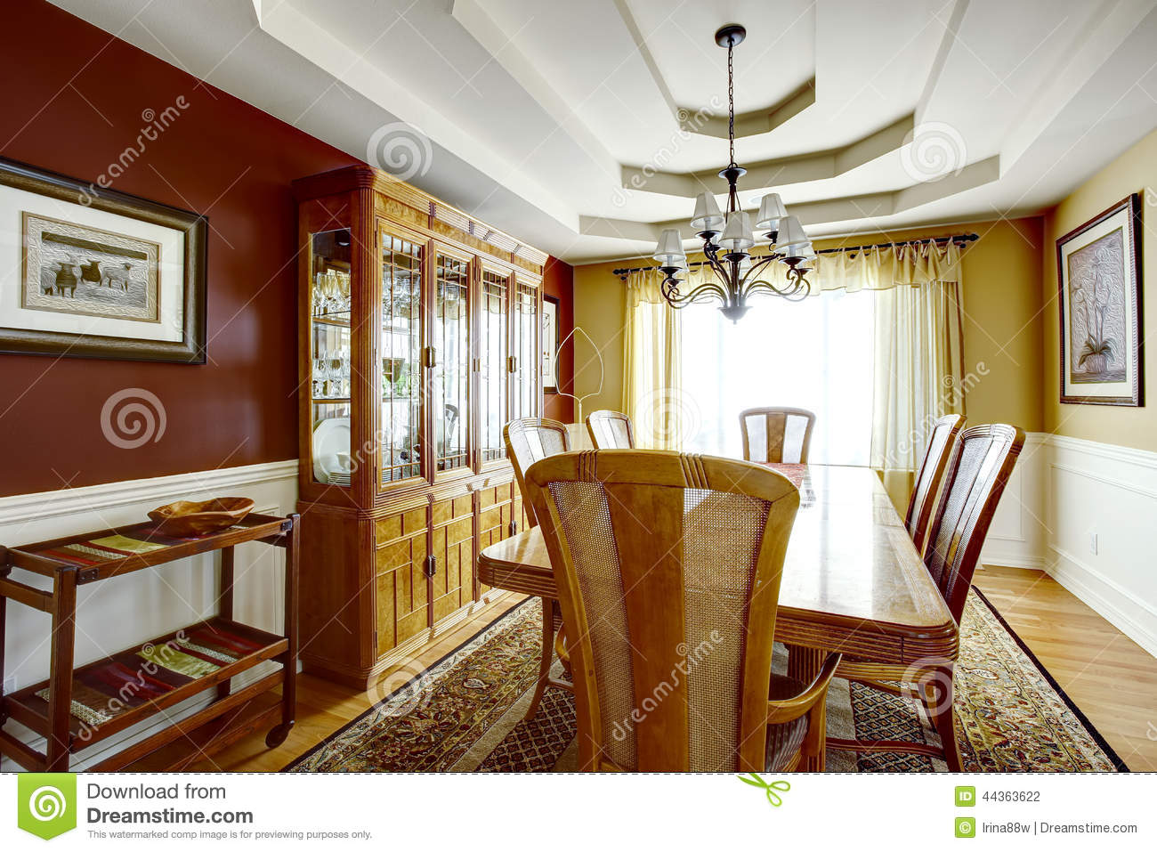 Dining Room With Contrast Color Walls Stock Photo Image