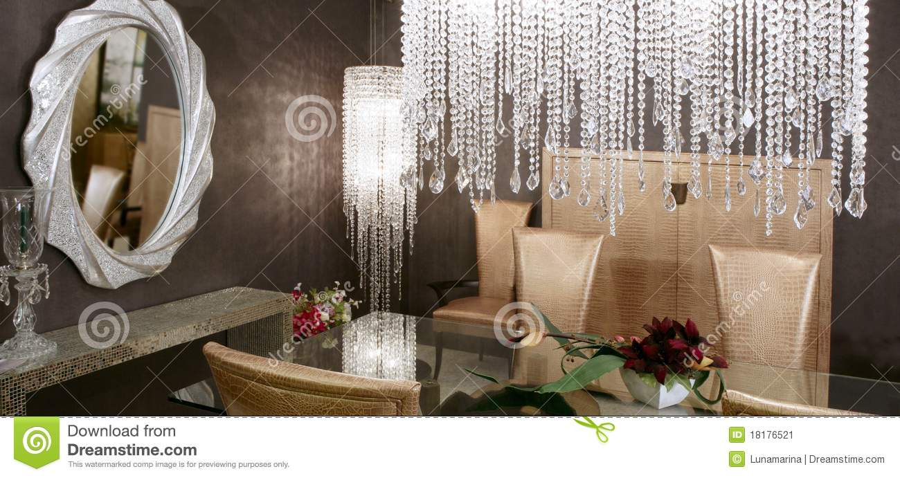 Dining Room Crystal Lamp Golden Chairs Stock Image Image