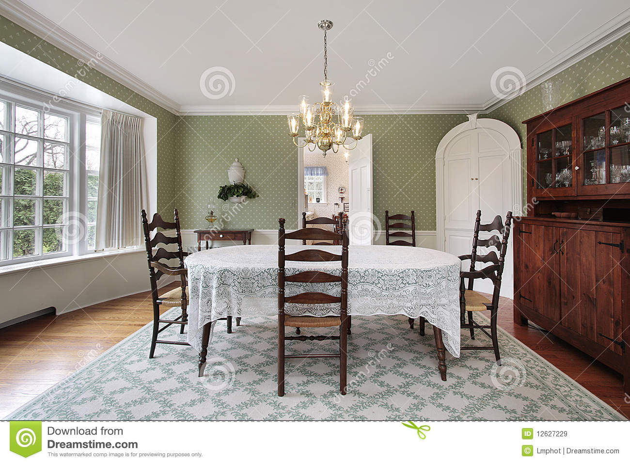 Dining room with curved bay window stock image for Curved bay window