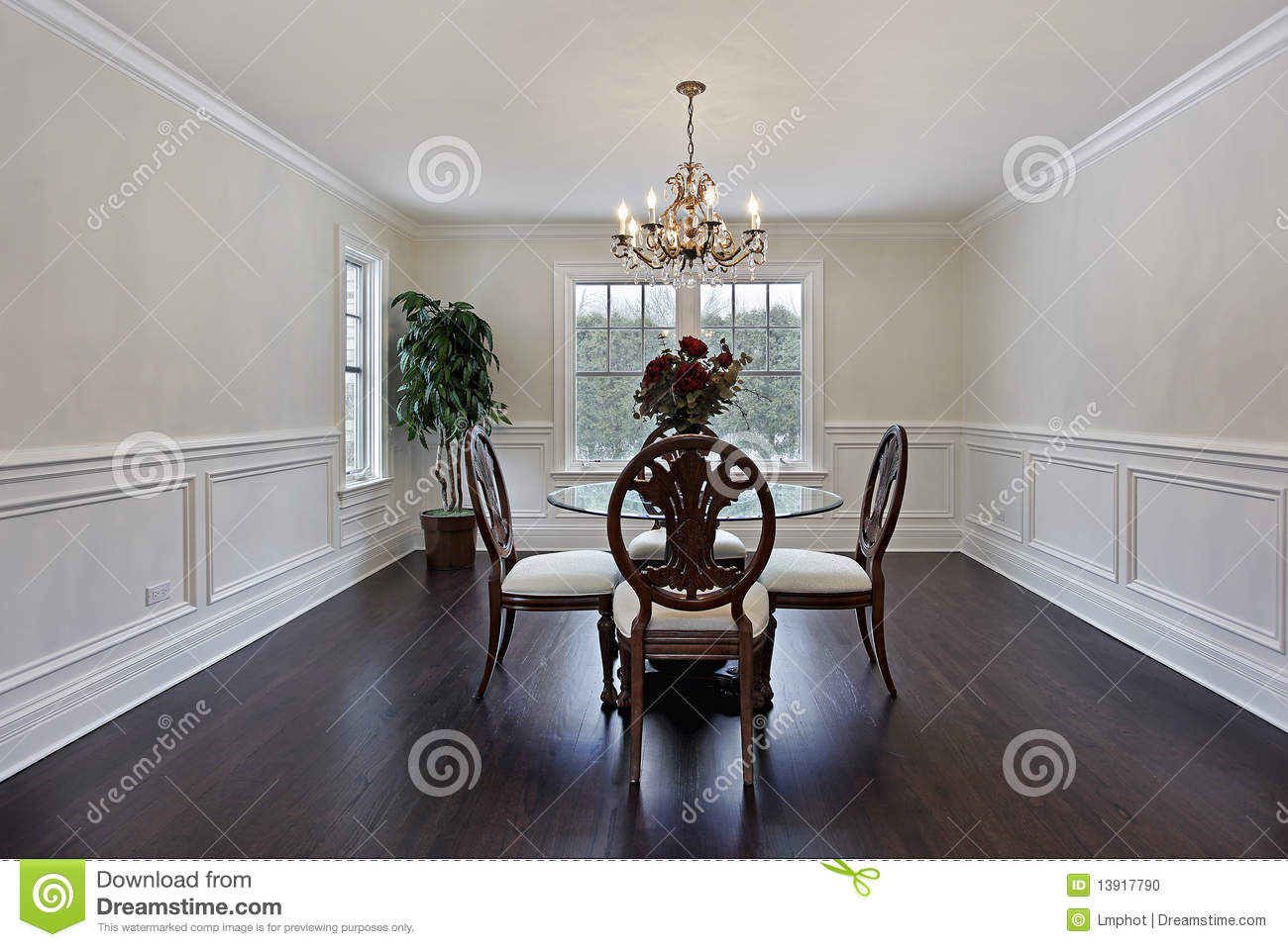 Dining room with dark wood flooring stock photo image for Dining room flooring