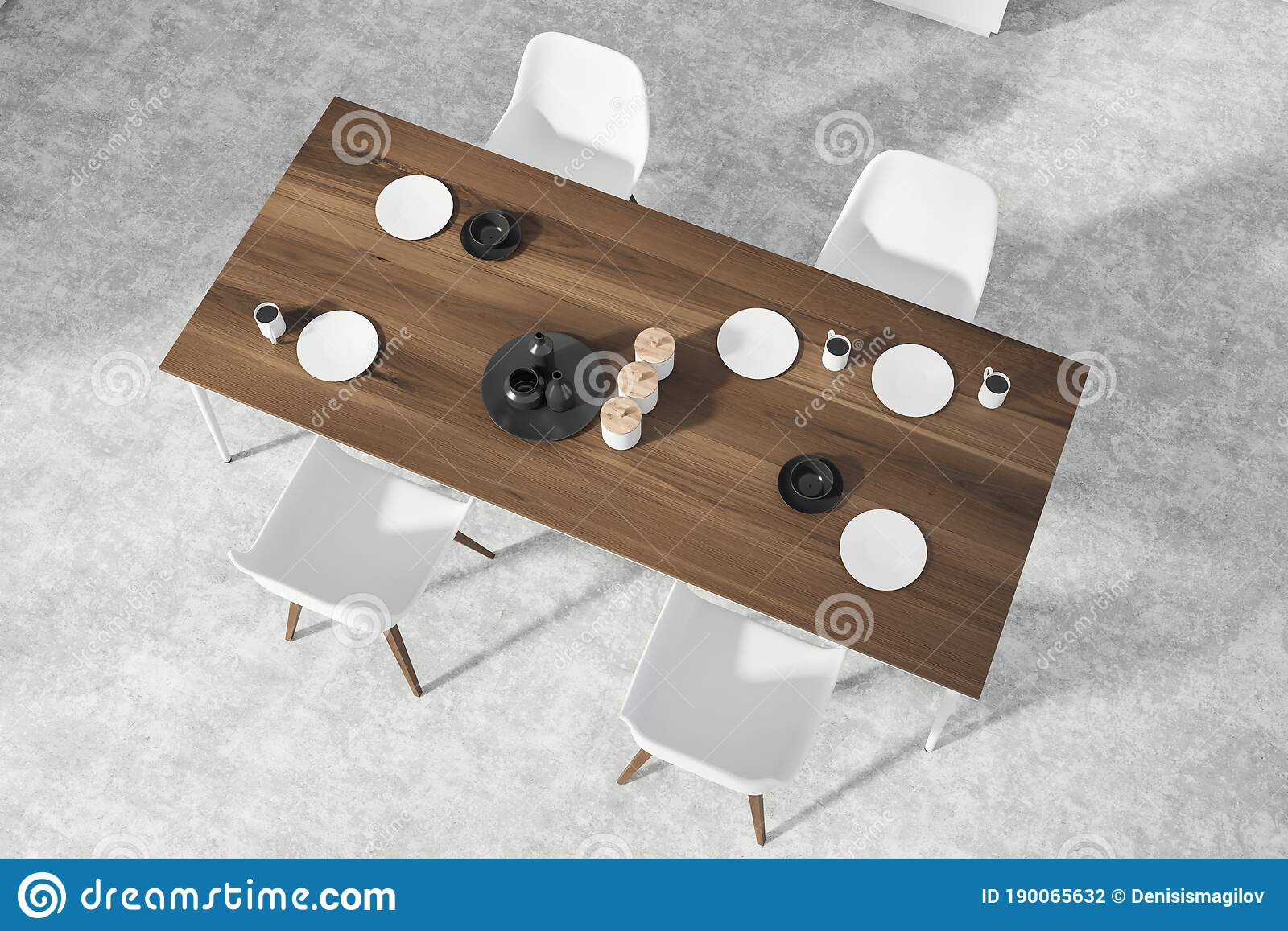 Picture of: Dining Room With Dark Wooden Table Top View Stock Illustration Illustration Of Domestic Comfort 190065632