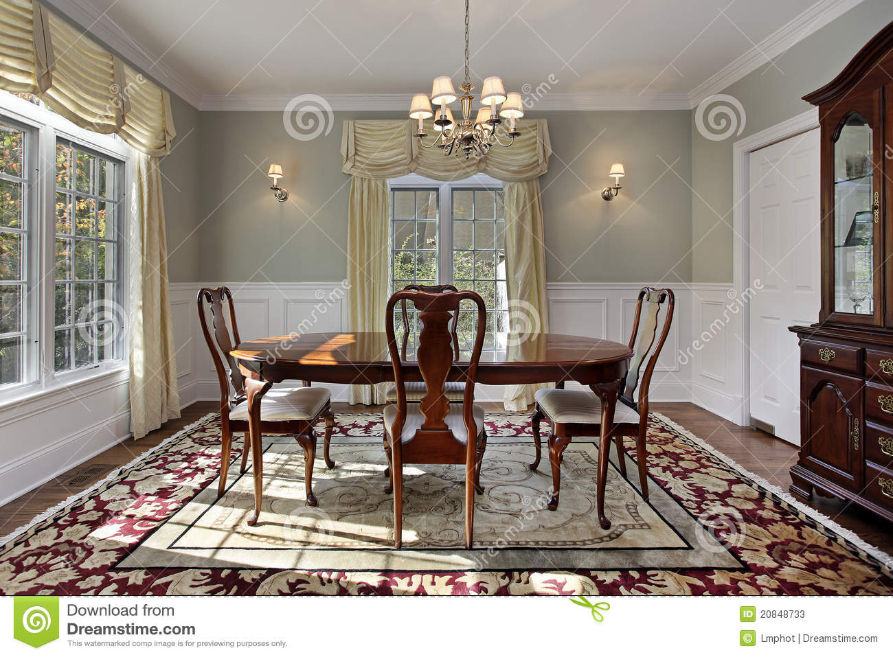 dining room with decorative rug stock photos image 20848733