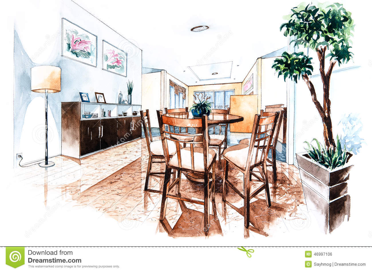 Dining room perspective drawing - Design Dining Painting Paper Room Watercolor White Perspective