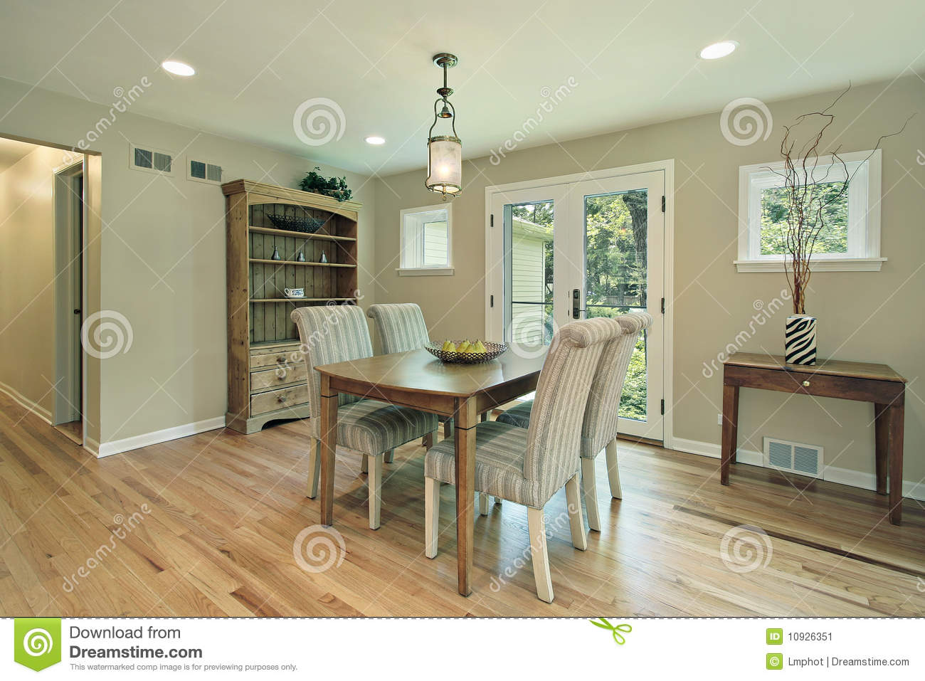 Dining Room With Doors To Patio Stock Image Image Of