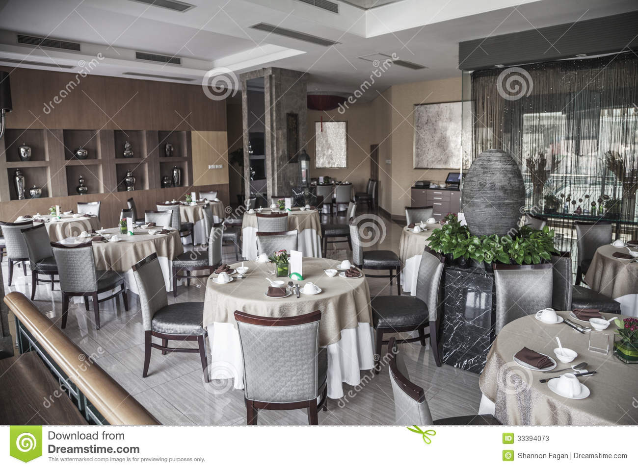Dining Room With Elegant Table Settings Stock Photos