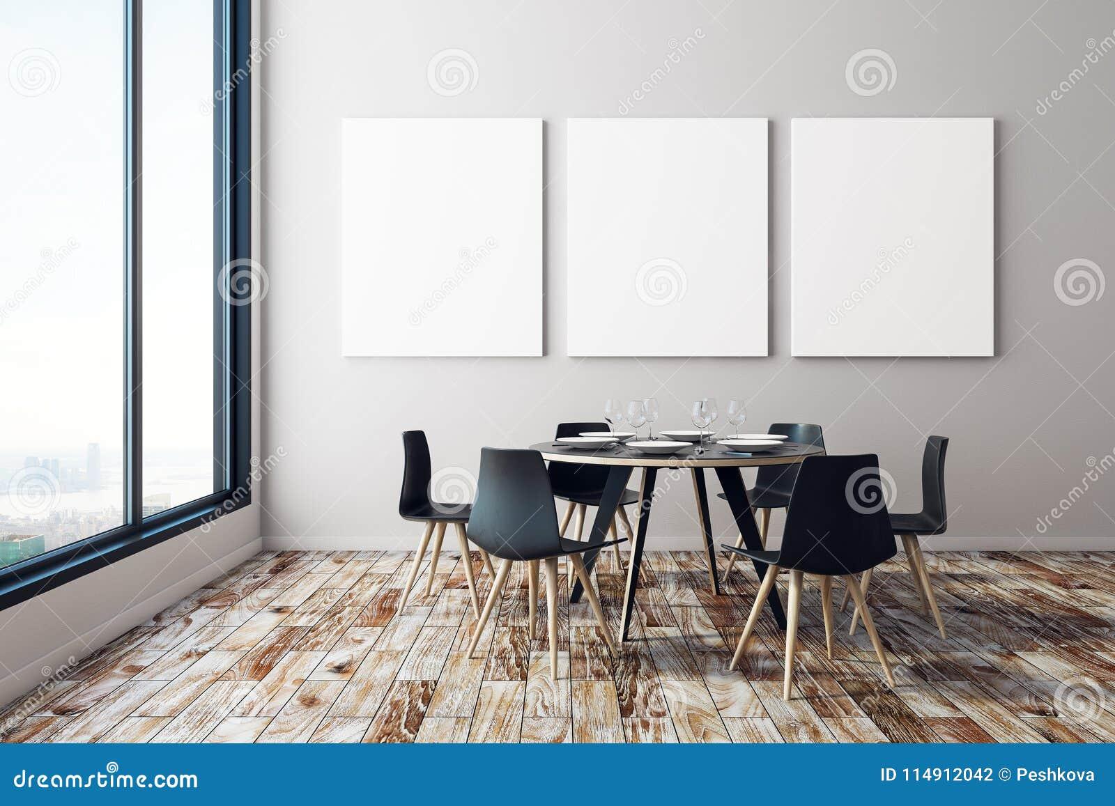 Dining Room With Empty Billboard Stock Illustration Illustration Of Living Interior 114912042