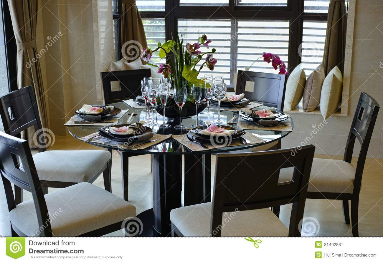 Dining room stock image image 31402881 for Fine dining table setting