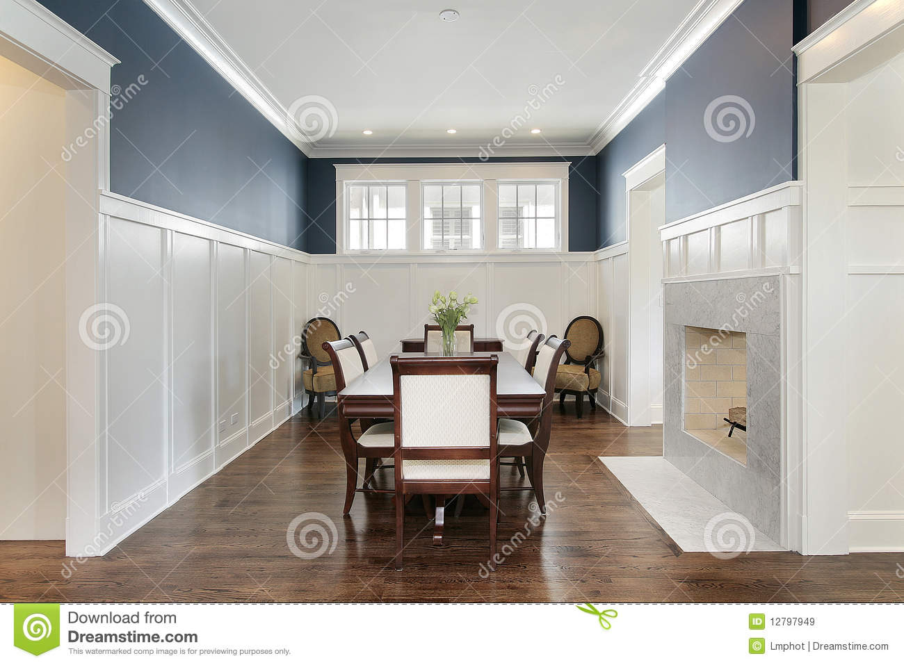 dining room with fireplace royalty free stock images - image: 12797949