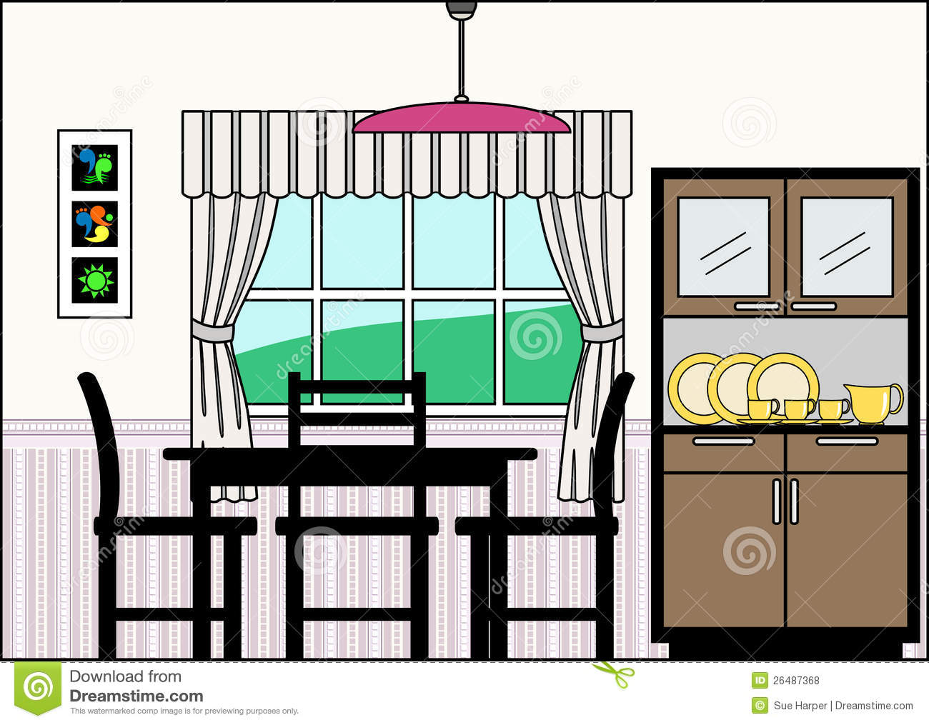 Dining Room With Furniture And Fittings Stock Vector