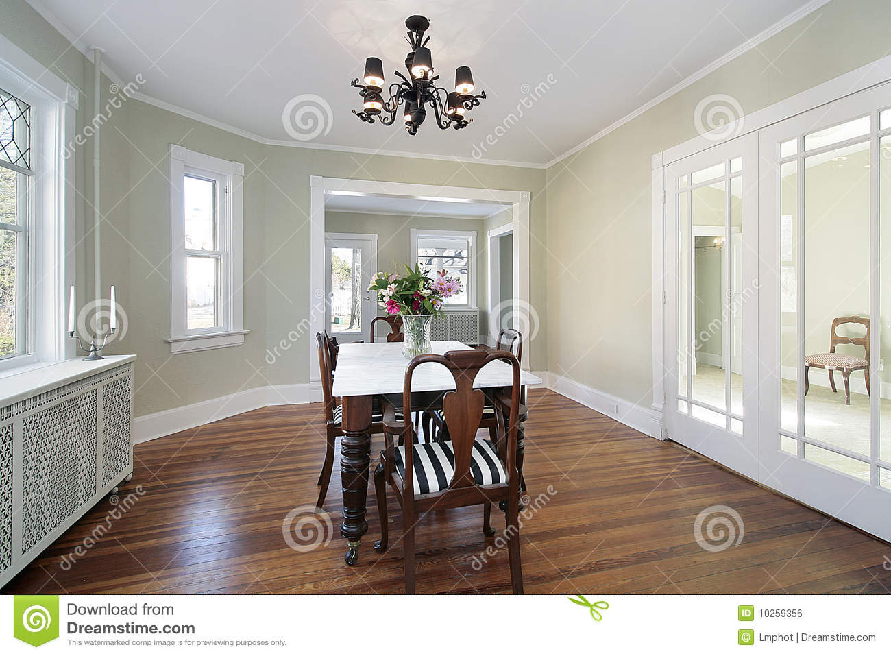 dining room with glass doors royalty free stock image image