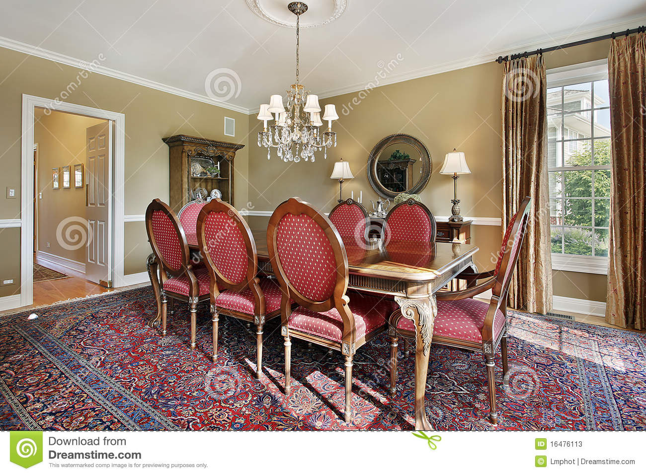 Gold Walls Living Room.Dining Room With Gold Walls Stock Image Image Of
