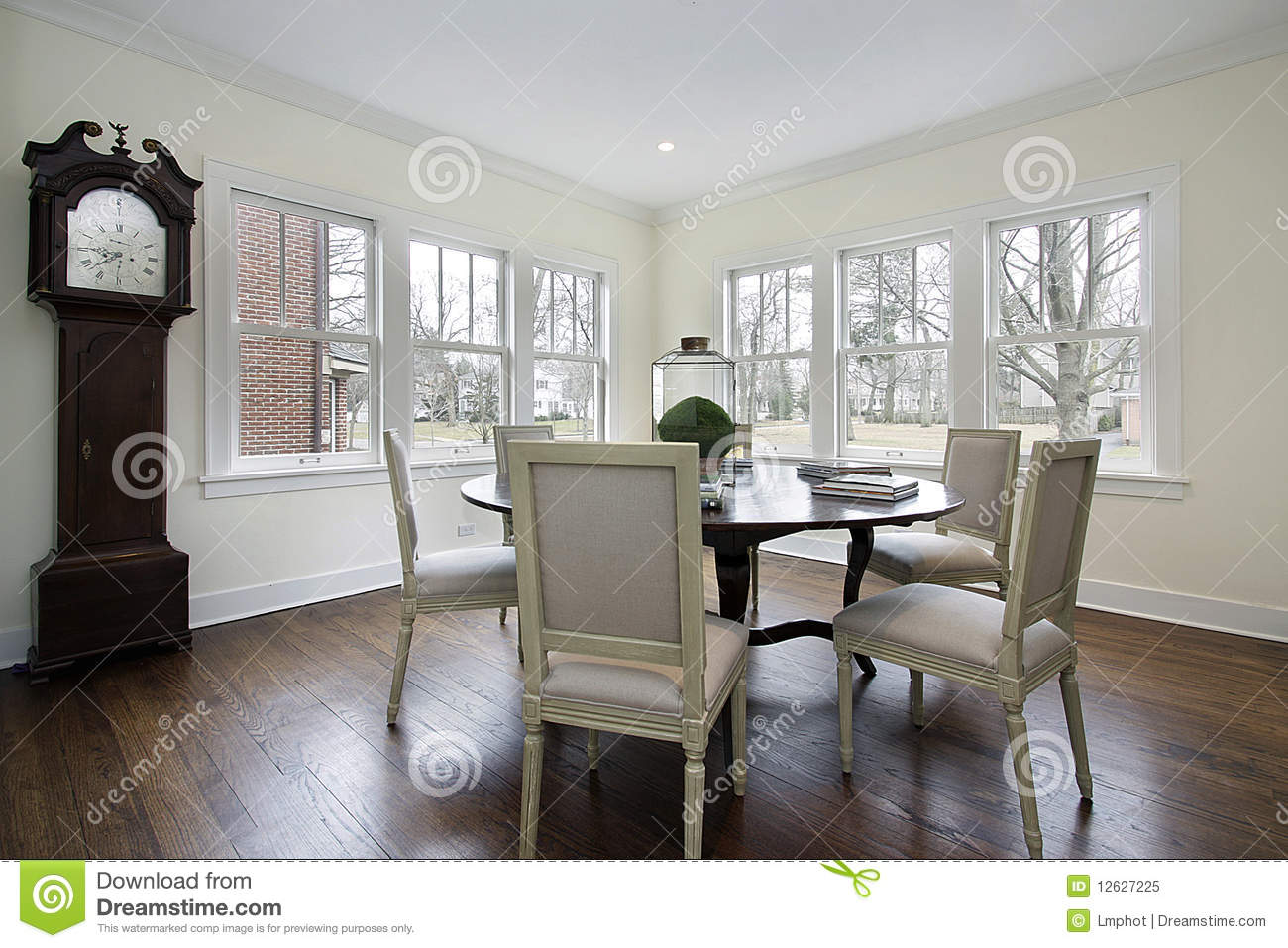 dining room with grandfather clock royalty free stock photo