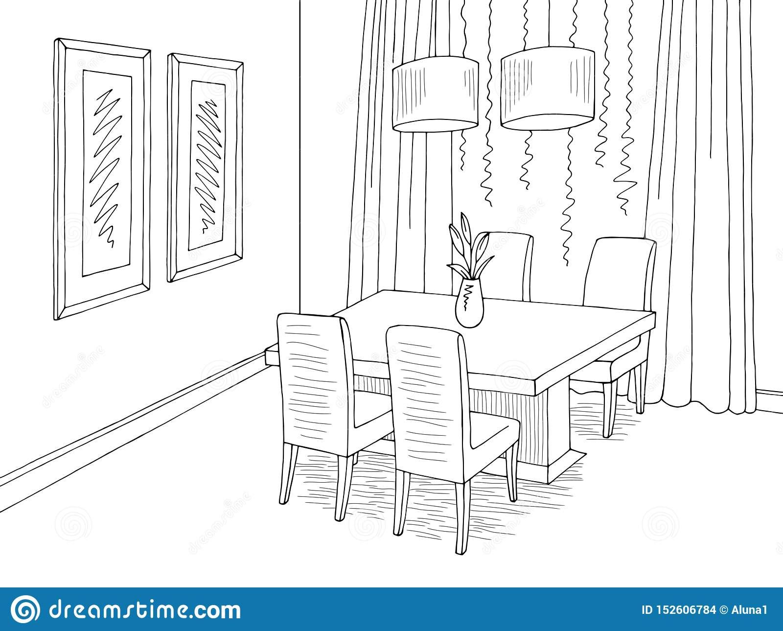Dining Room Graphic Black White Sketch Home Interior Illustration Vector Stock Vector Illustration Of Outline Home 152606784
