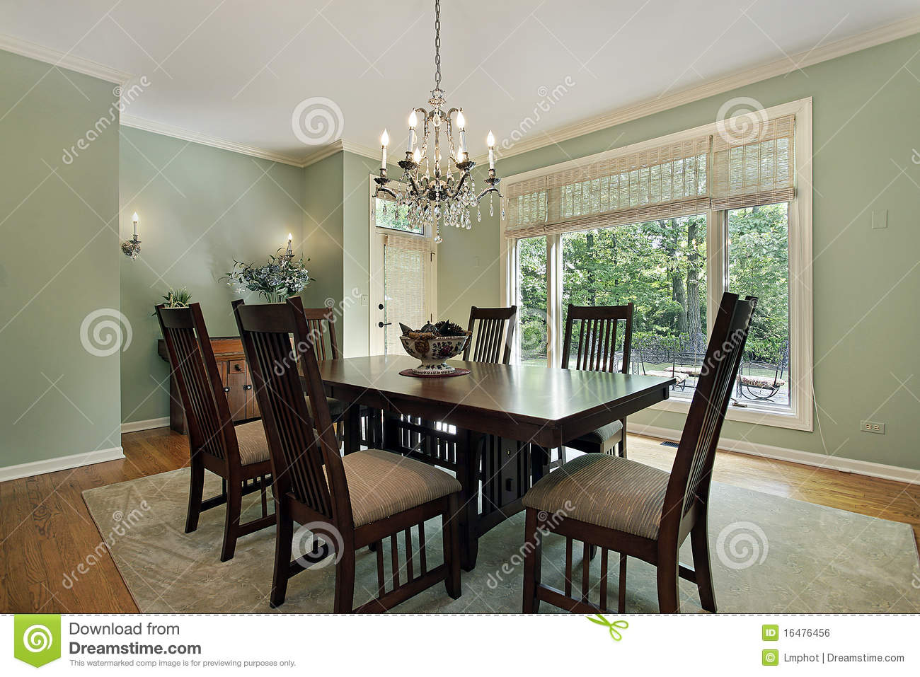 Dining Room With Green Walls Stock Photo Image 16476456