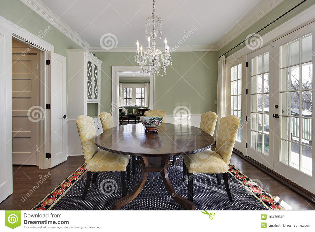 dining room with green walls stock images - image: 9331444