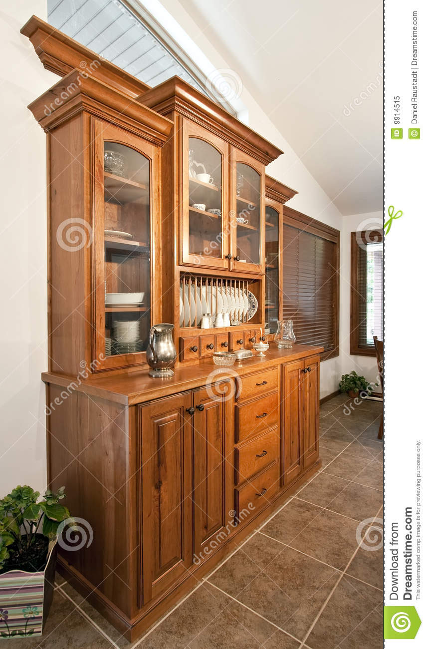 Dining Room Hutch Buffet stock image. Image of curio, drawer ...