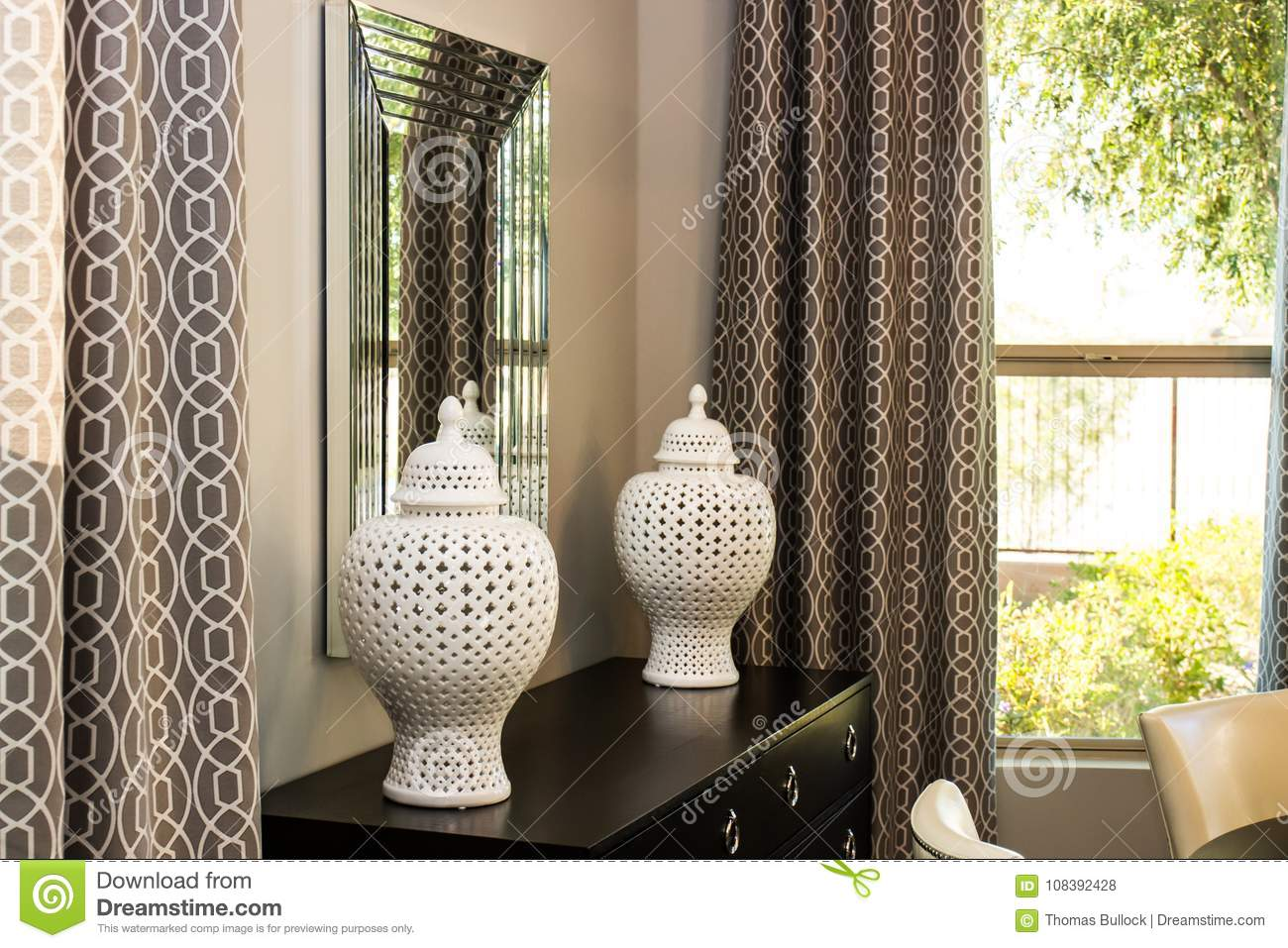 Dining Room Vases On Cabinet Stock Photo Image Of Bushes Mirror 108392428