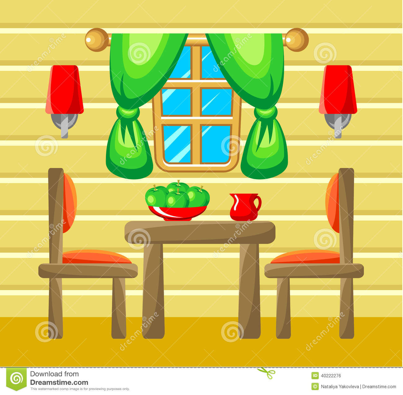 Dining room interior stock vector image