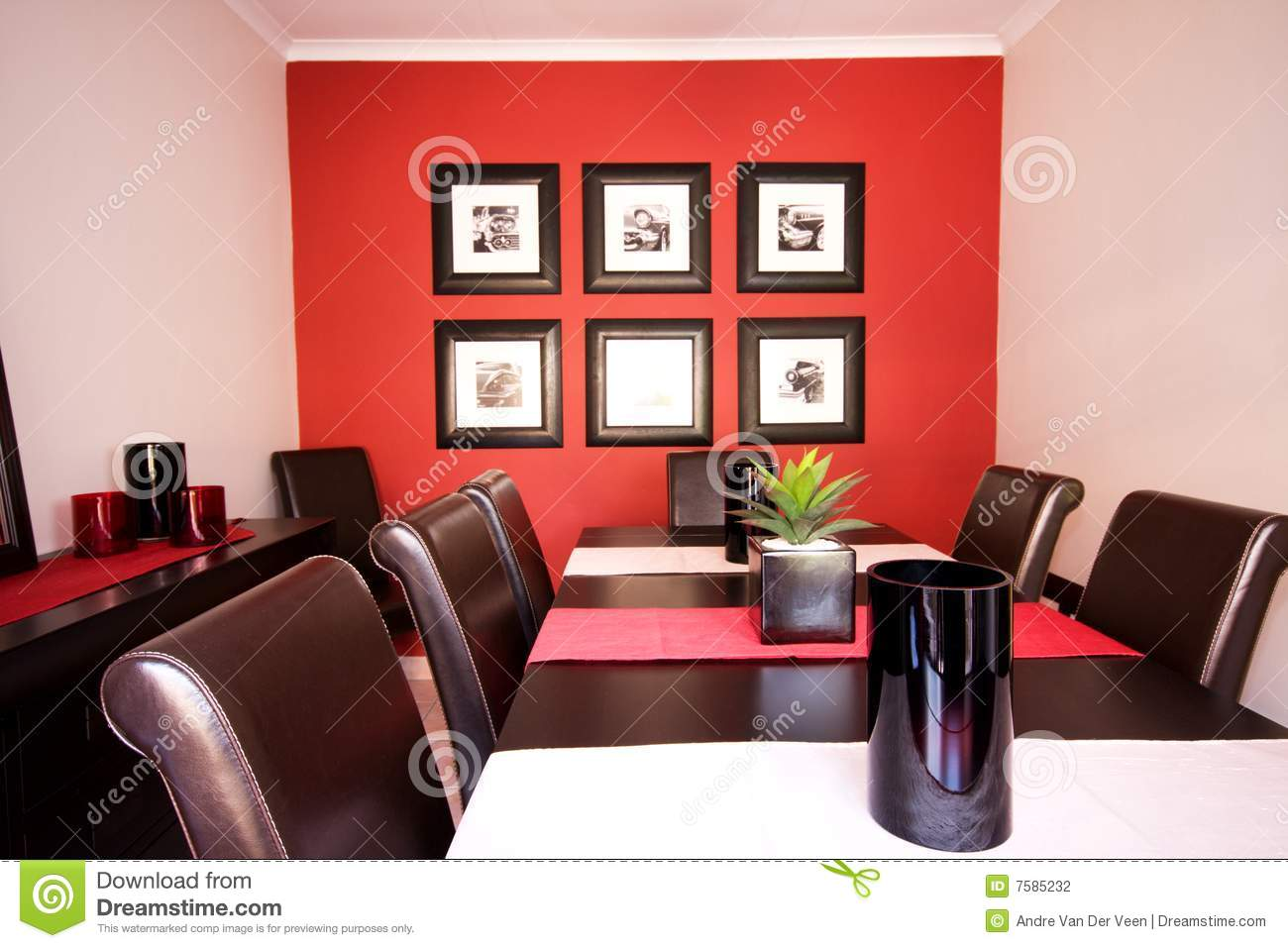Dining Room Interior With Red Wall Stock Photo Image