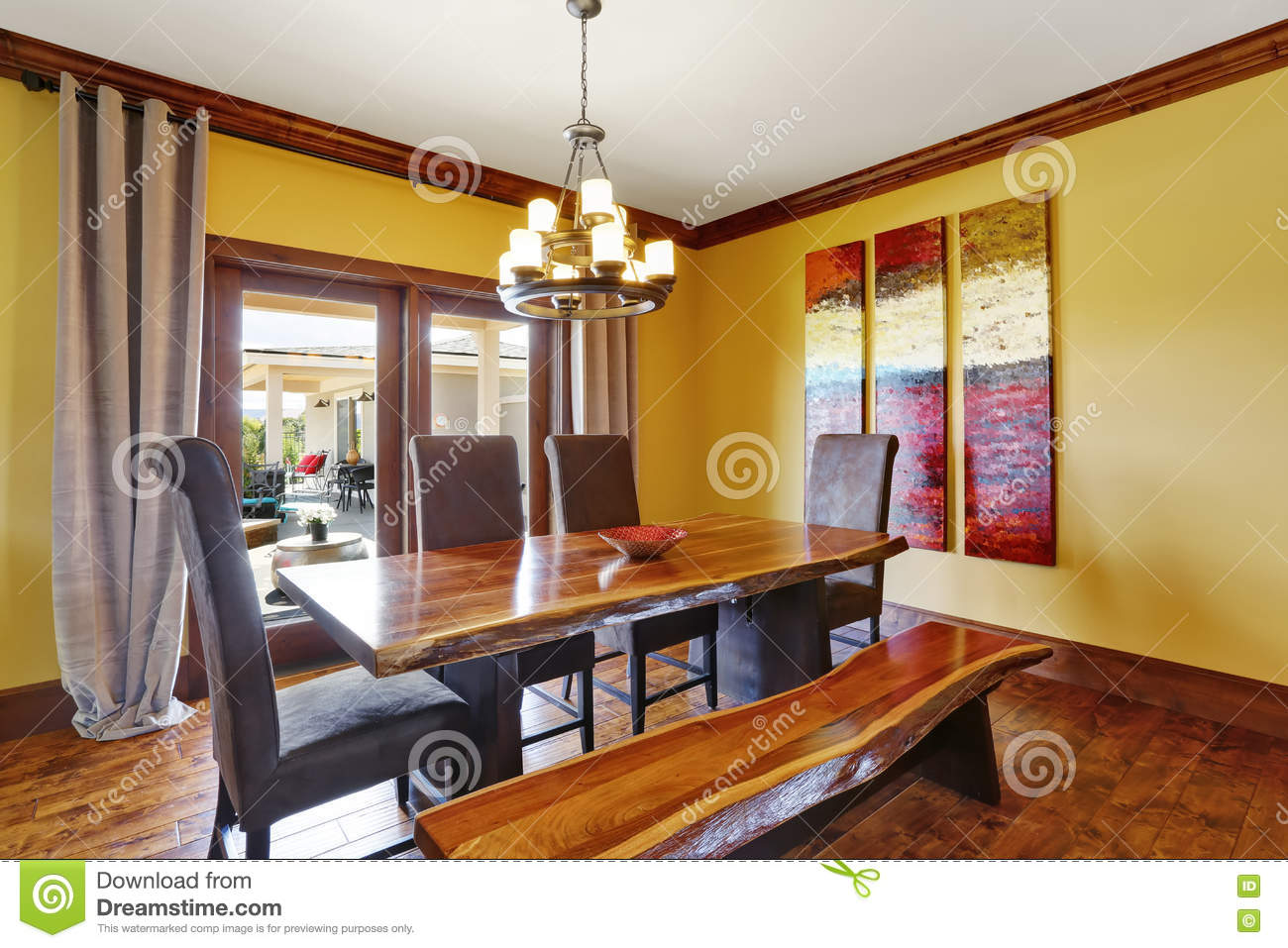 Dining Room Interior Rustic Wooden Table Bench And High Back