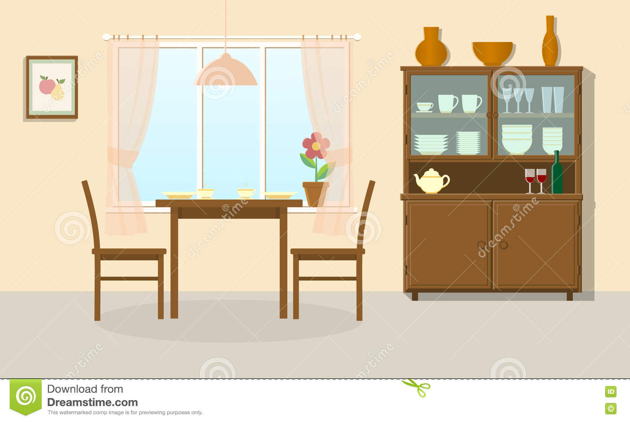 Strange Dining Room Stock Vector Illustration Of Cupboard Ocoug Best Dining Table And Chair Ideas Images Ocougorg