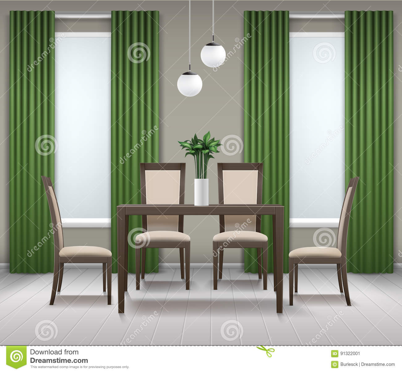 Dining Room Interior Stock Vector Illustration Of Indoors 91322001