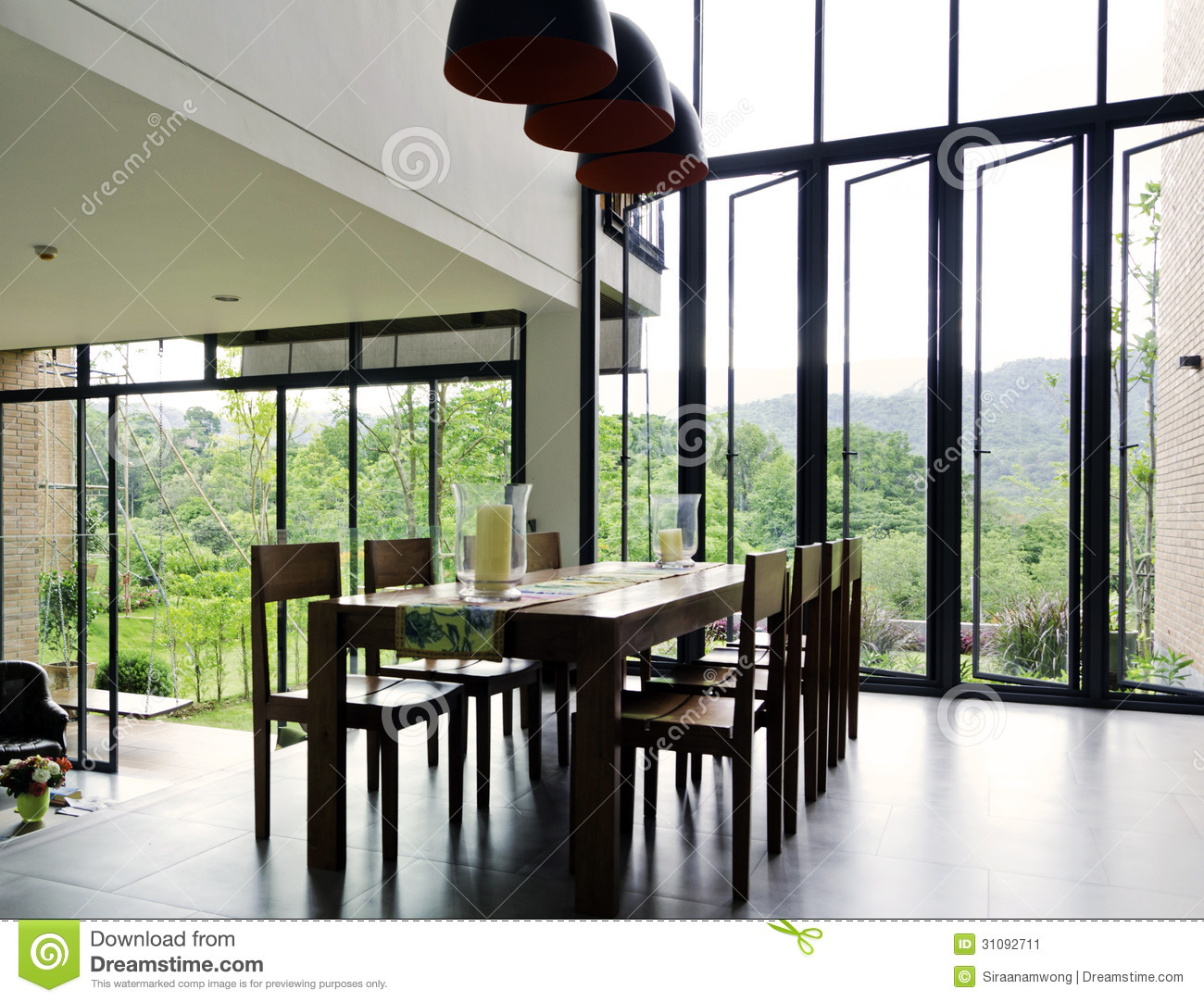 Download Dining Room Interior With Wooden Table And Chairs Stock Image - Image of brown, living: 31092711