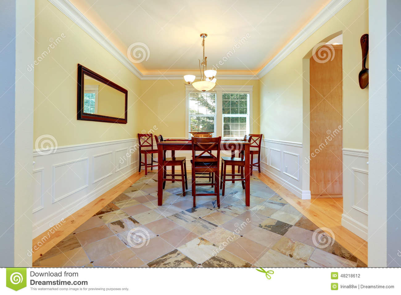 Dining Room In Ivory Color With White Trim