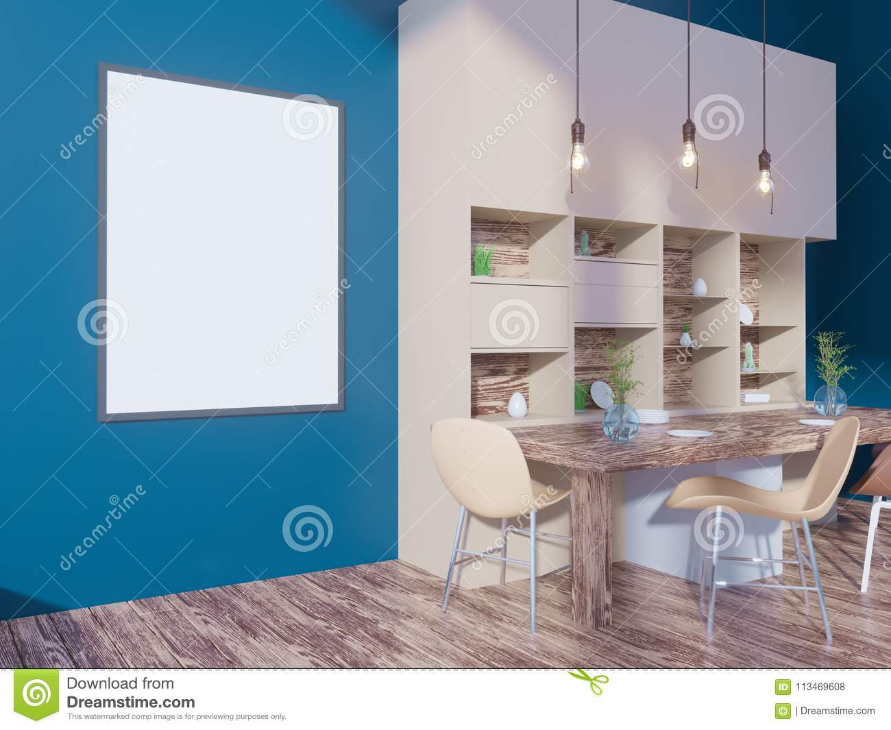 Dining Room And Kitchen Interior Wall Mock Up On White Background ...