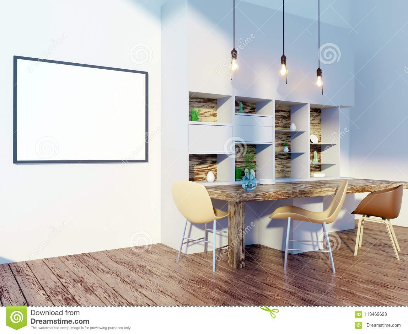 Dining Room And Kitchen Interior Wall Mock Up On White Background 3D Rendering Illustration Template Texture Wood Wooden