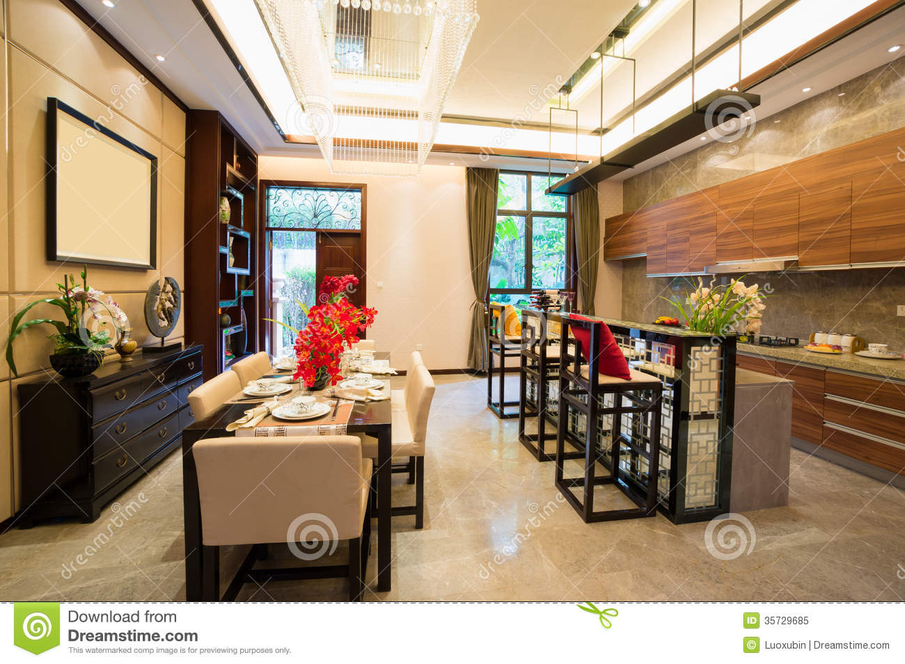 Dining room and kitchen stock image image of home plant for Decoration of kitchen room