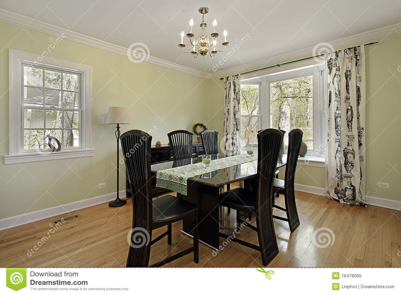 Dining room with light green walls royalty free stock for Light green dining room