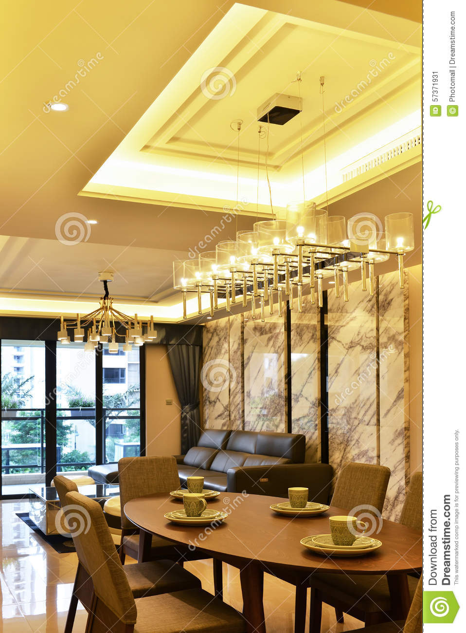 Dining Room And Living Room Stock Image Image of  : dining room living room crystal pendant lighting wood table four wooden chairs marble wall floor luxury villa hall 57371931 from www.dreamstime.com size 958 x 1300 jpeg 179kB