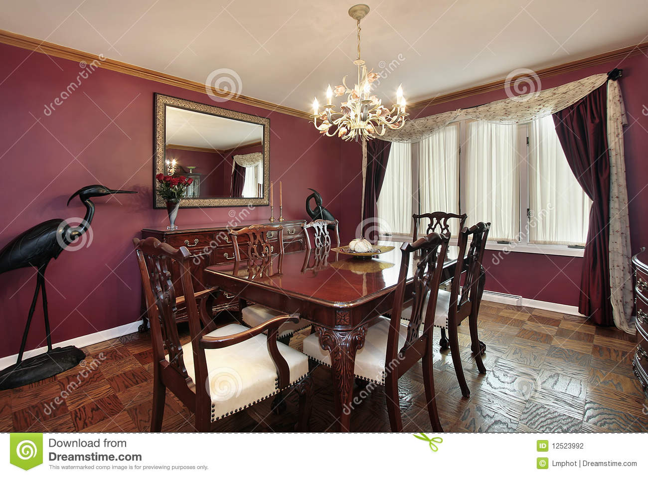 dining room with maroon walls royalty free stock images - image